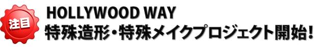 HOLLYWOOD WAY 特殊造形・特殊メイクプロジェクト開始!